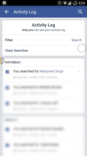 Clear Facebook Android App Search History