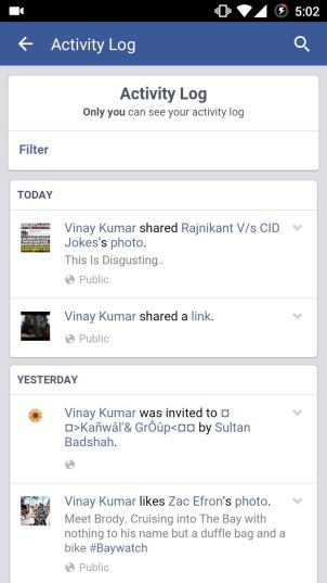 Activity Log in Facebook Android App