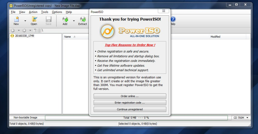 Continue as Unregistered in PowerISO