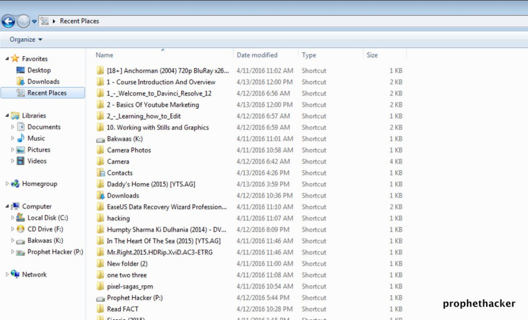 Recent Files in Window PC