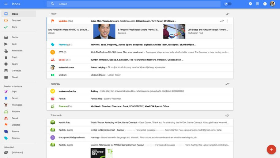 Google Inbox Interface and Info Cards