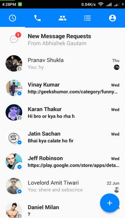 Facebook Messenger appp in Phone