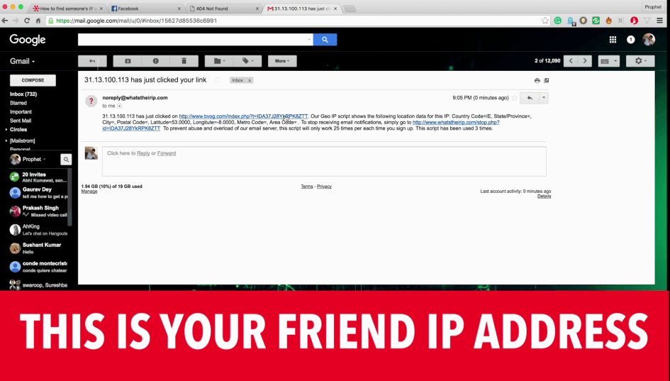 This is your Friend IP Address