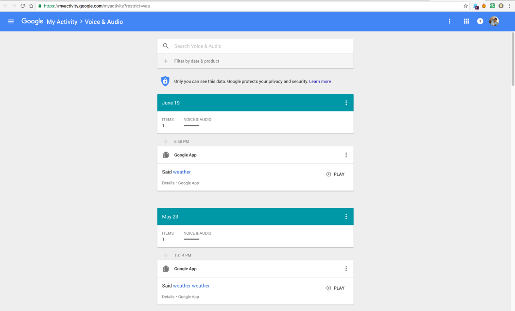 Google Voice and Audio History