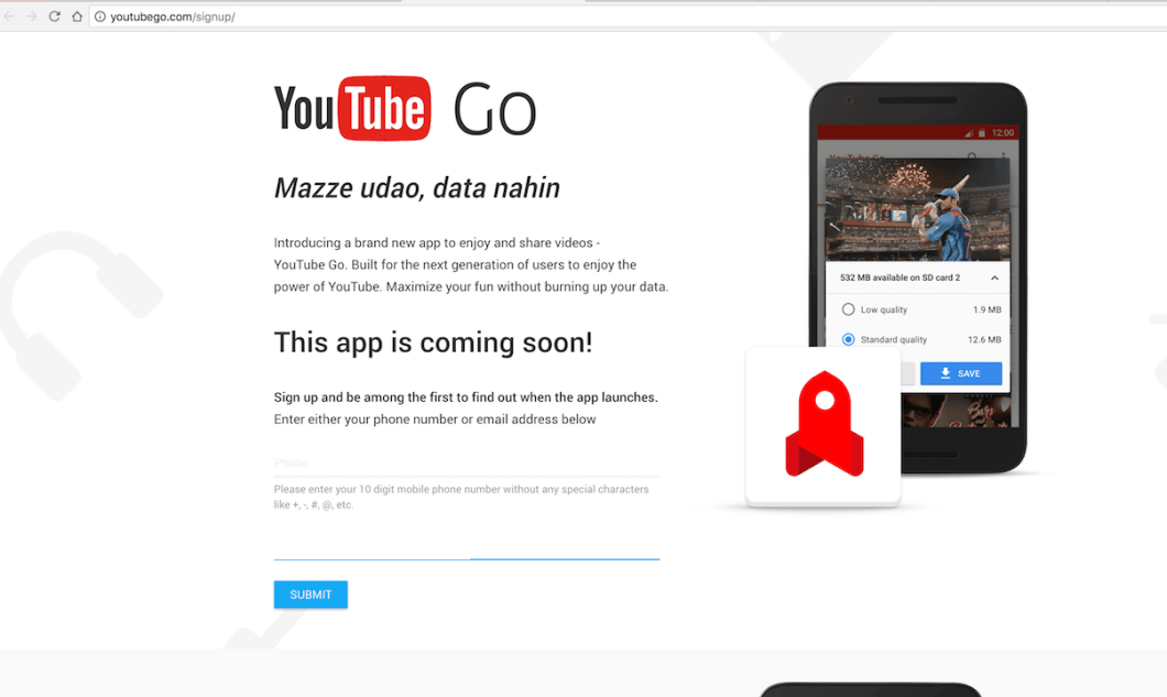 Youtube Go Signup Website
