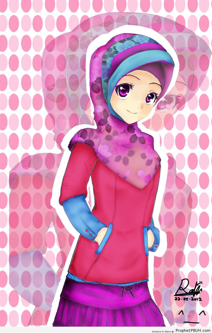 Anime PurpleEyed Muslim Girl  Drawings  Prophet PBUH