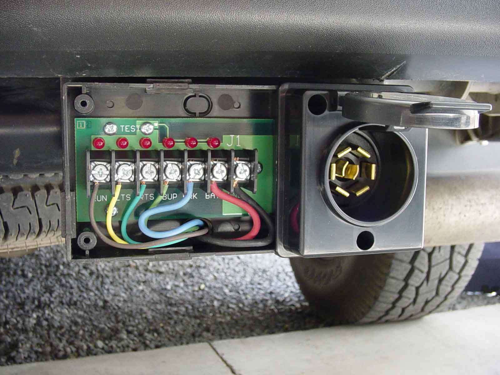 hight resolution of mounted pro plug trailer connector with the cover removed shows wiring of this surface mountable