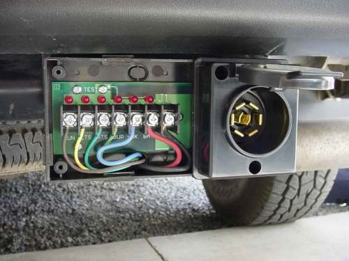 small resolution of mounted pro plug trailer connector with the cover removed shows wiring of this surface mountable