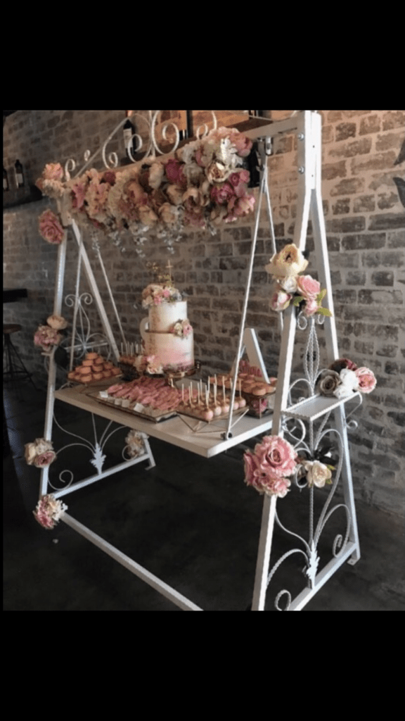 swing chair hire pibbs pedicure white cake prop my party events
