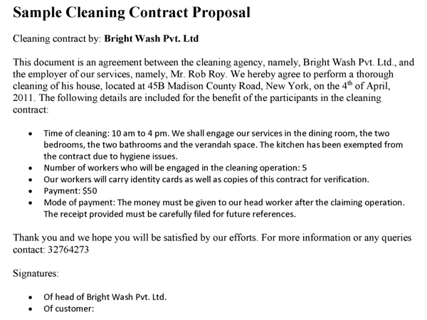 cleaning contract template contractstore cleaning contract ...