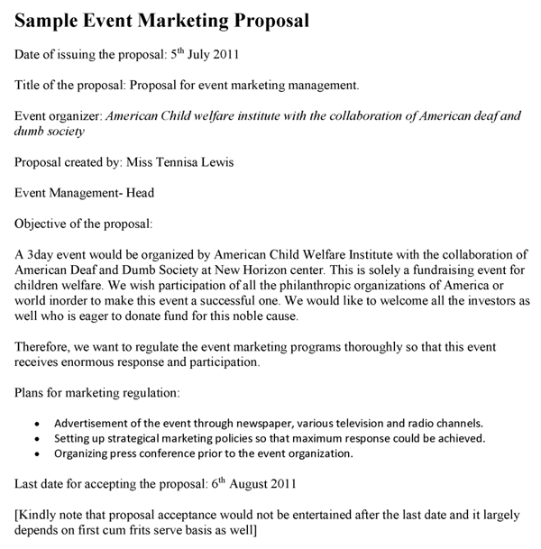 Event Marketing Proposal