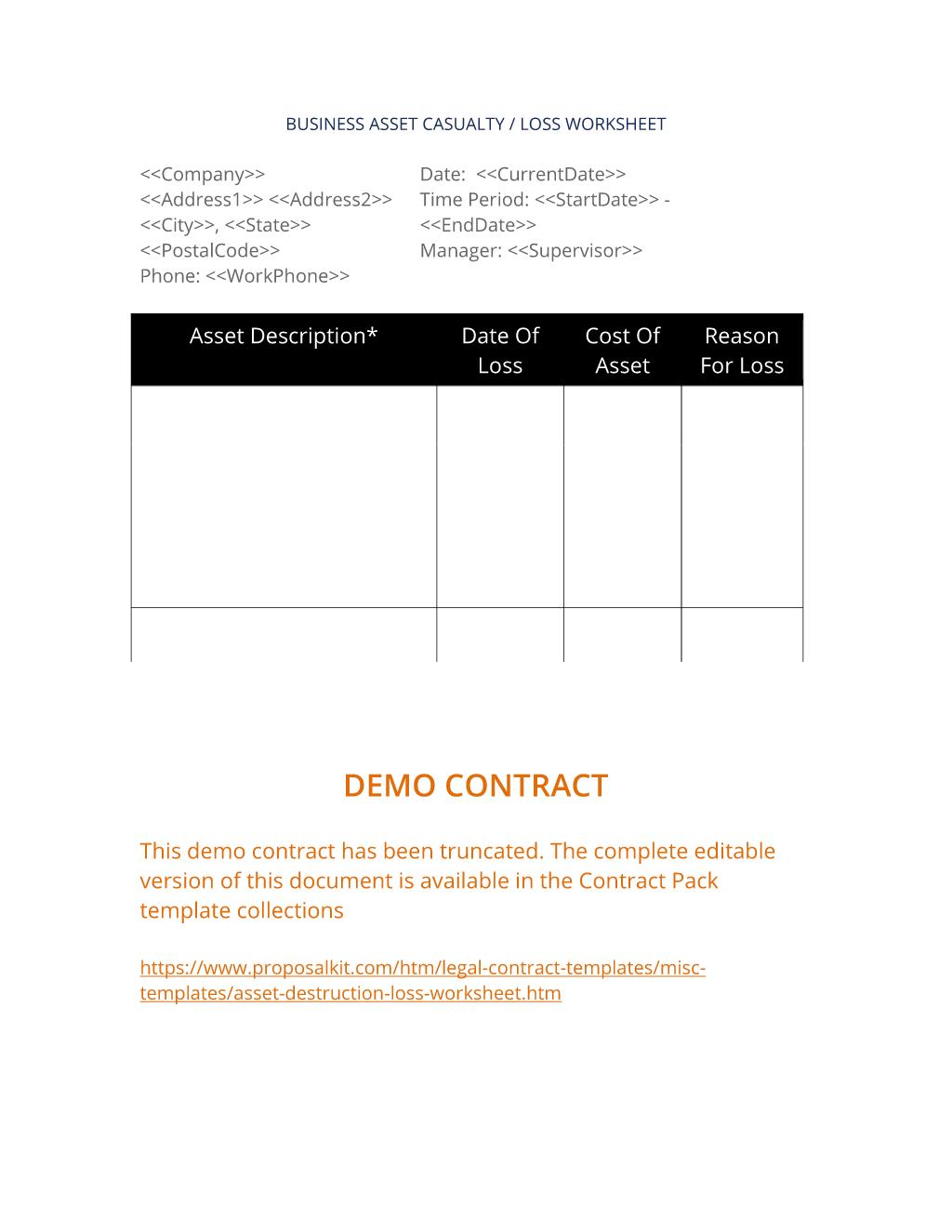 Asset Destruction Loss Worksheet