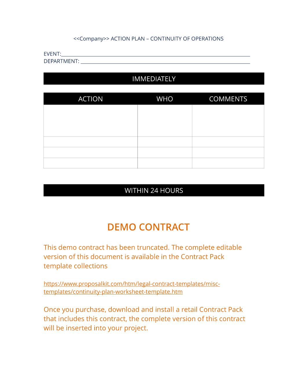 Continuity Plan Worksheet