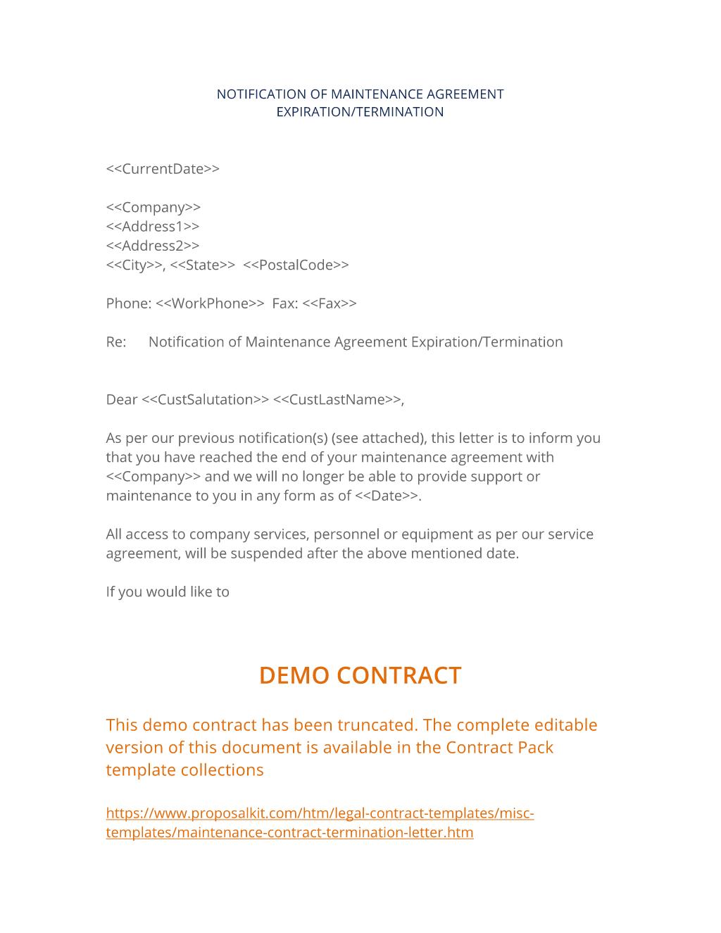 Maintenance Contract Termination Letter
