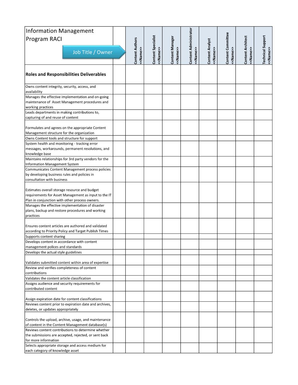 Raci Matrix Worksheet