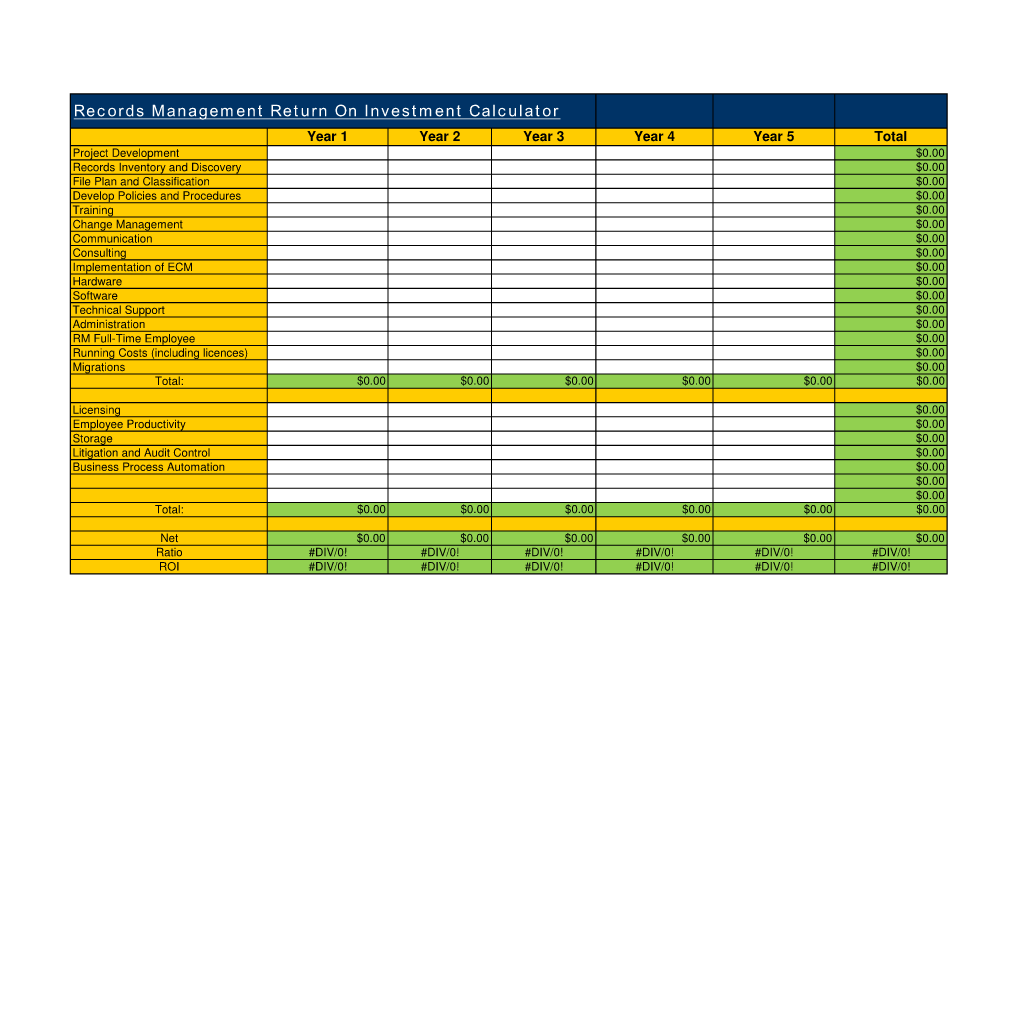 Records Management Return On Investment Calculator