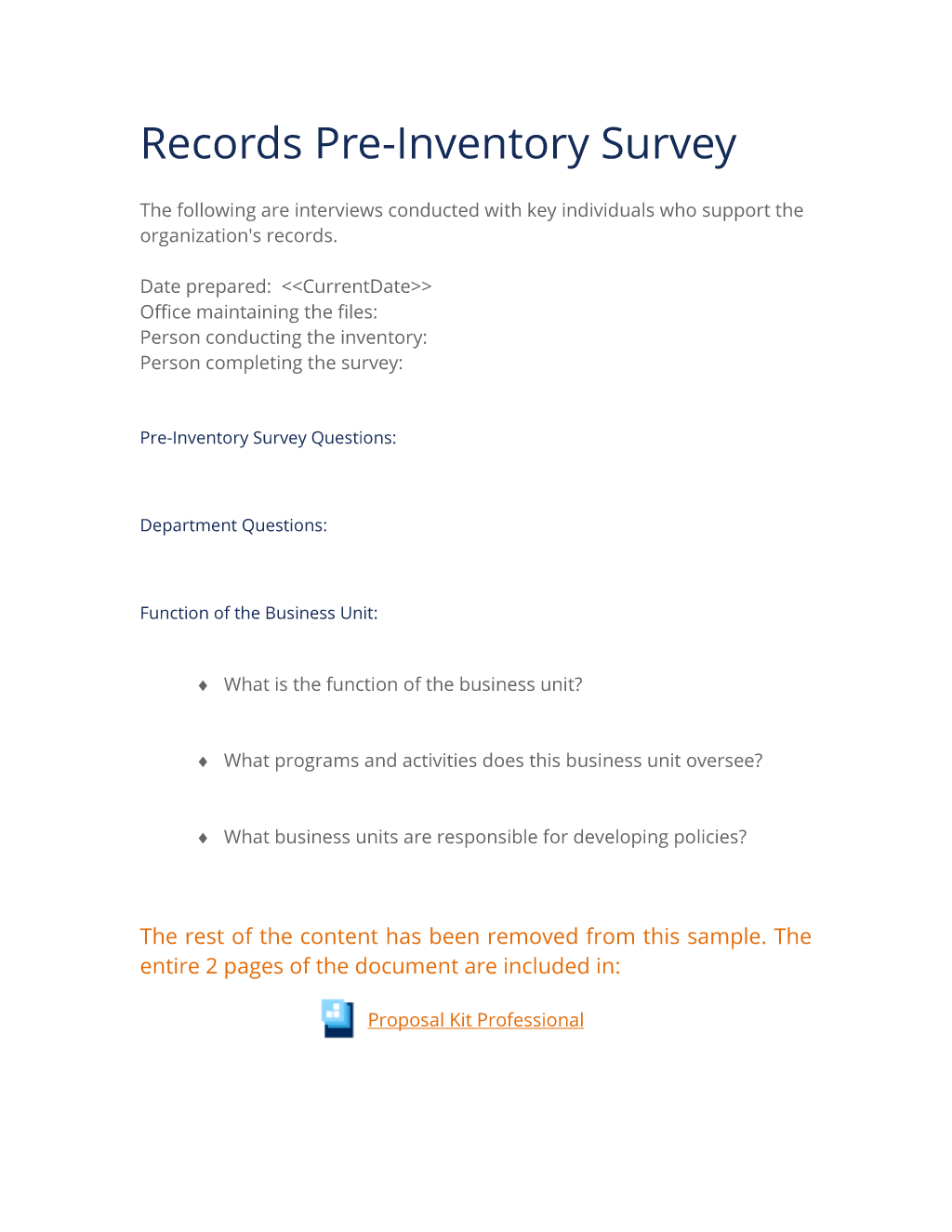 Records Management Pre Inventory Survey