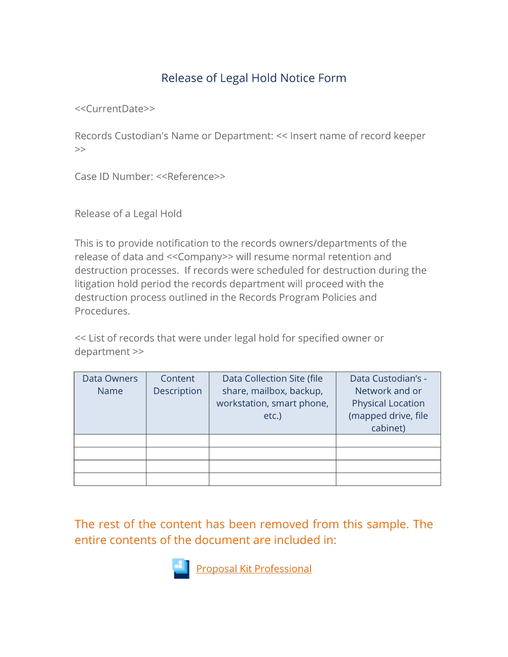 Release Of Legal Hold Notice Form