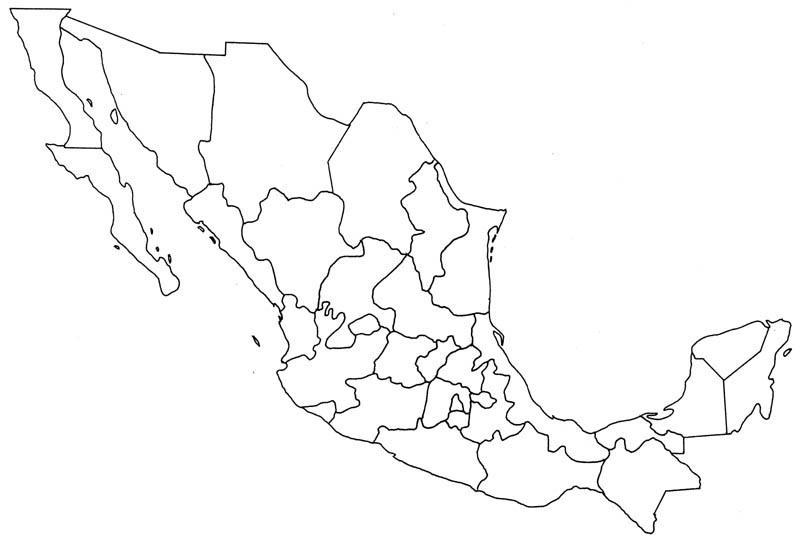 Mapa Mexico Blanco Negro