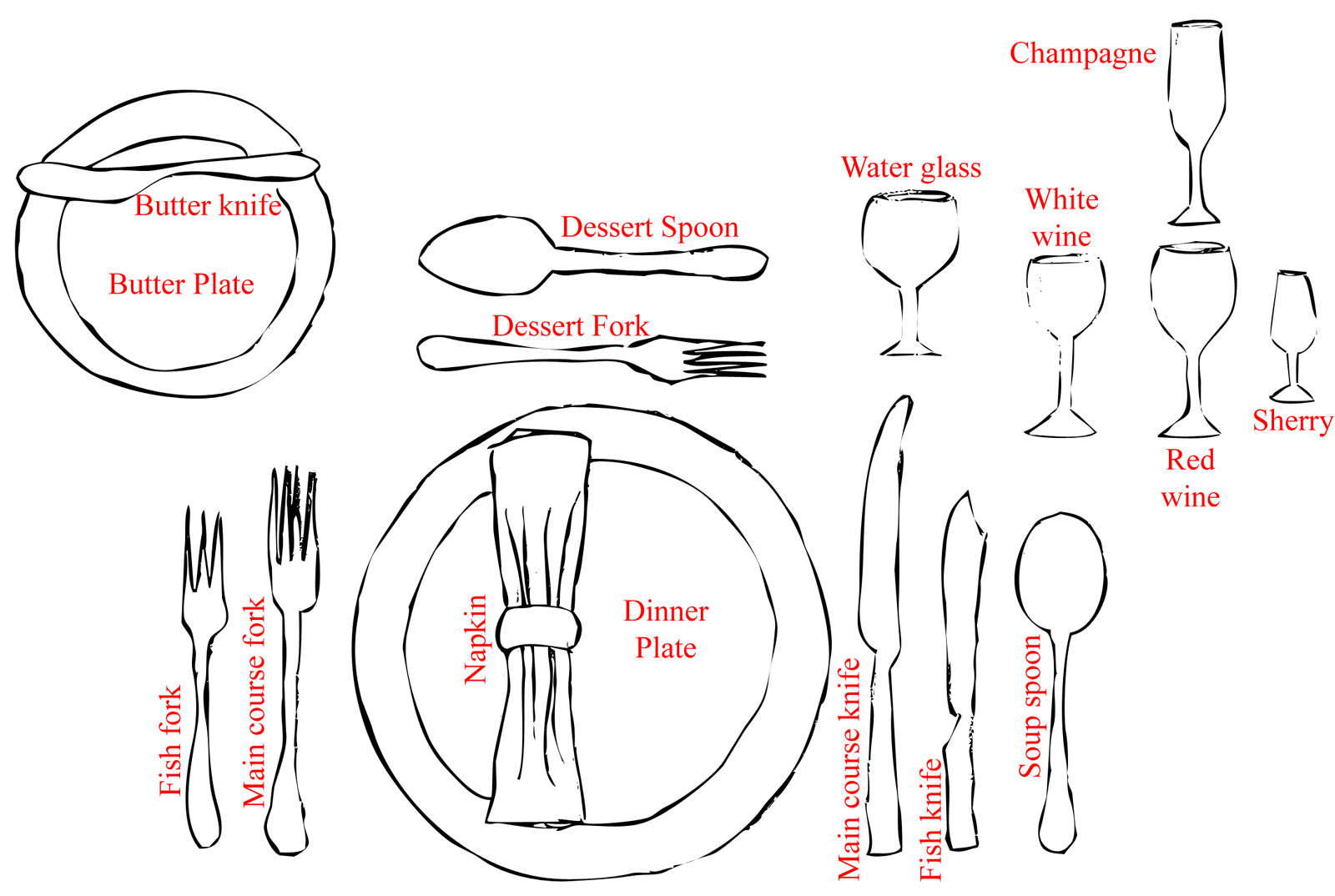 hight resolution of formal dinner setting