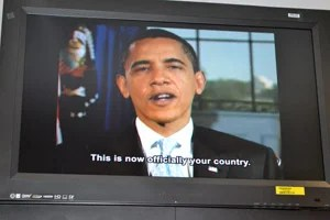 The video message from President Barack Obama showed at every swearing-in ceremony. (Photo courtesy of Abigail Gellman)