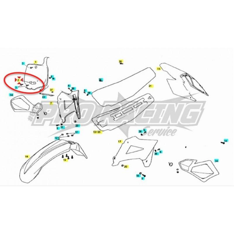 GUIDE DURITE POUR PORTE NUMERO AVANT EC RACING MC MX SM 2T