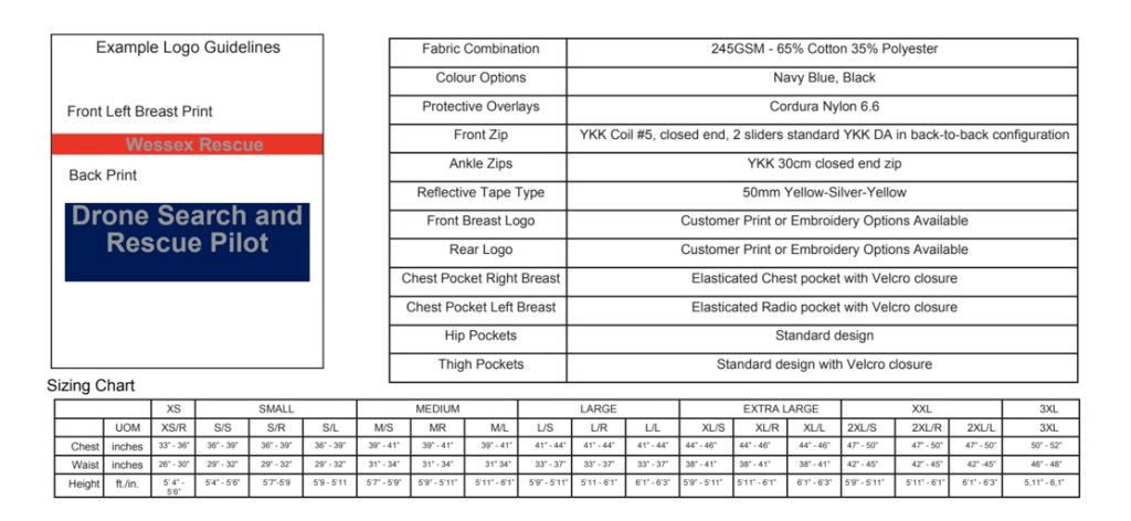 Coveralls Size Chart