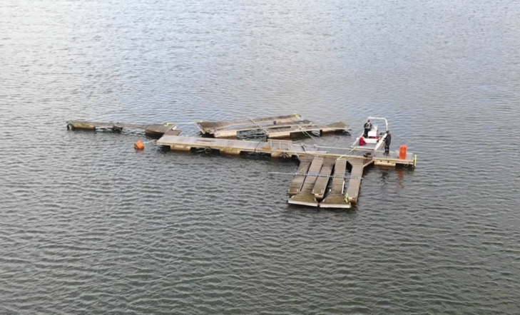 Image of pontoons in poole harbour from a Drone