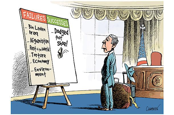 George W. Bush on the US economic recession, cartoon