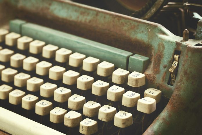 A photograph of an antique typewriter