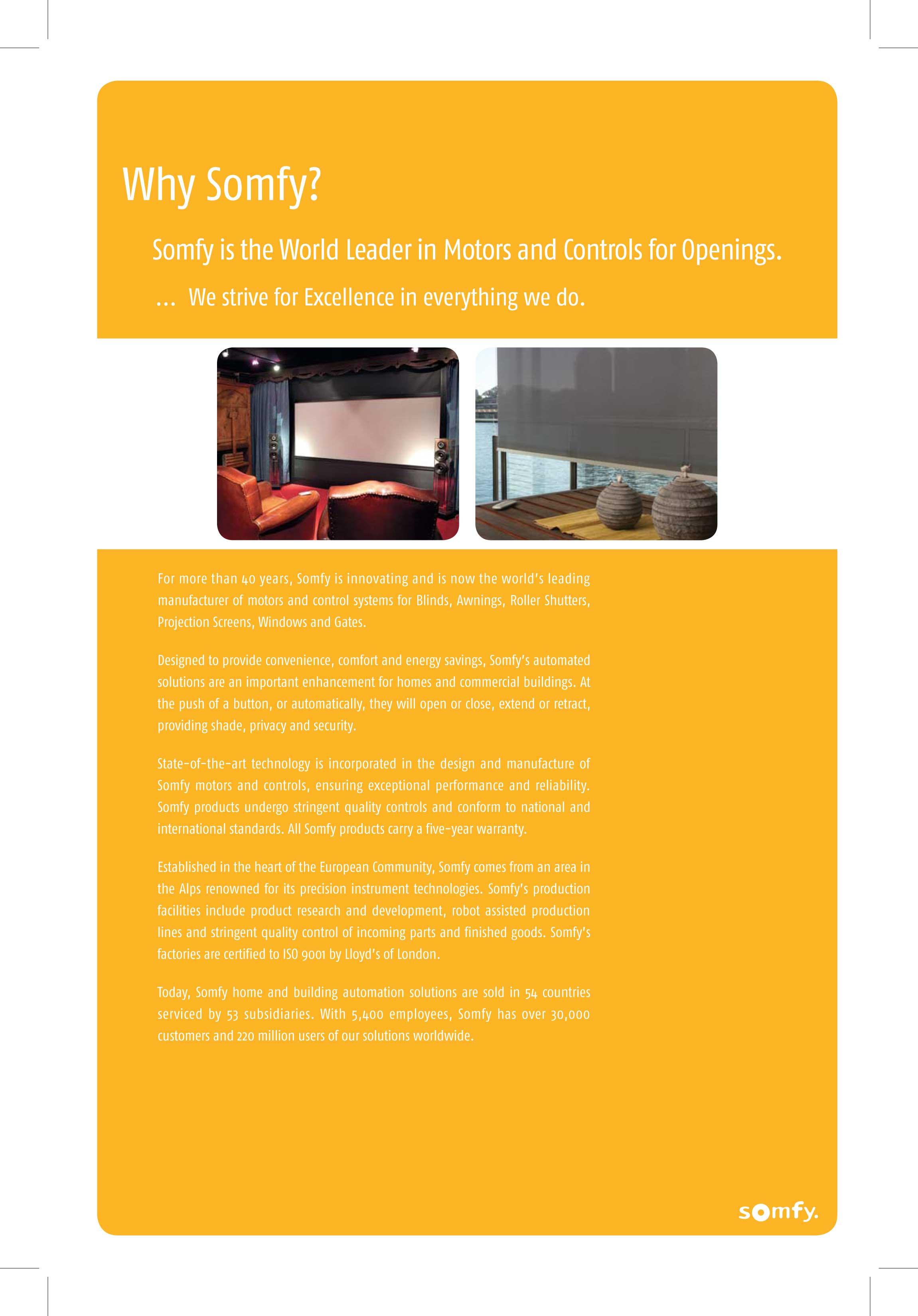 Somfy motors  controls  Proshade sal
