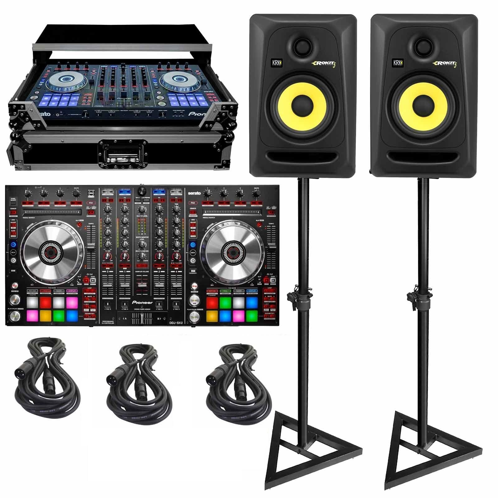 pioneer-ddj-sx2-4-channel-serato-dj-controller-with-case-monitor-speakers-yellow-cables-pa