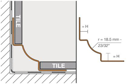 schluter dilex ehk stainless steel cove shaped corner profiles