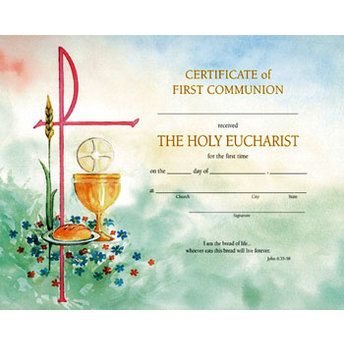 Watercolor Line First Communion Certificates Prospect