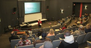 Photo taken by Destiny Norris | Dean of Students, Mariette Turner, speaks to a group at Parkland College on February 6, 2017.