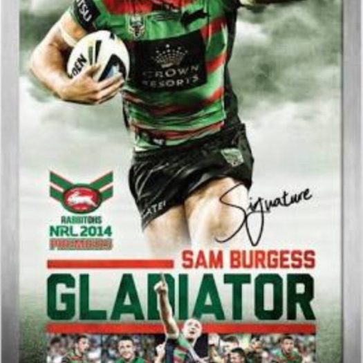 Sam Burgess Gladiator personally signed framed premiership ...