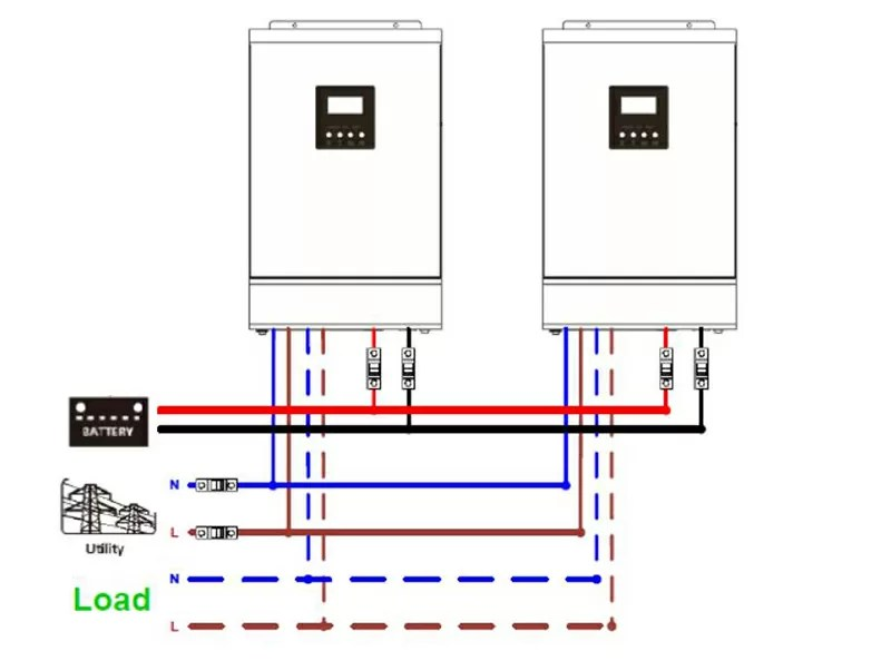 Off grid Solar Inverter Parallel 2 Pcs into Single Phase