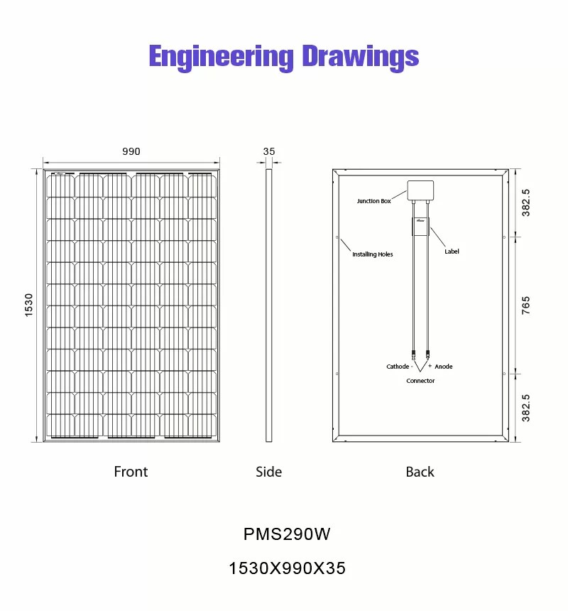 290w solar panel monocrystalline drawing