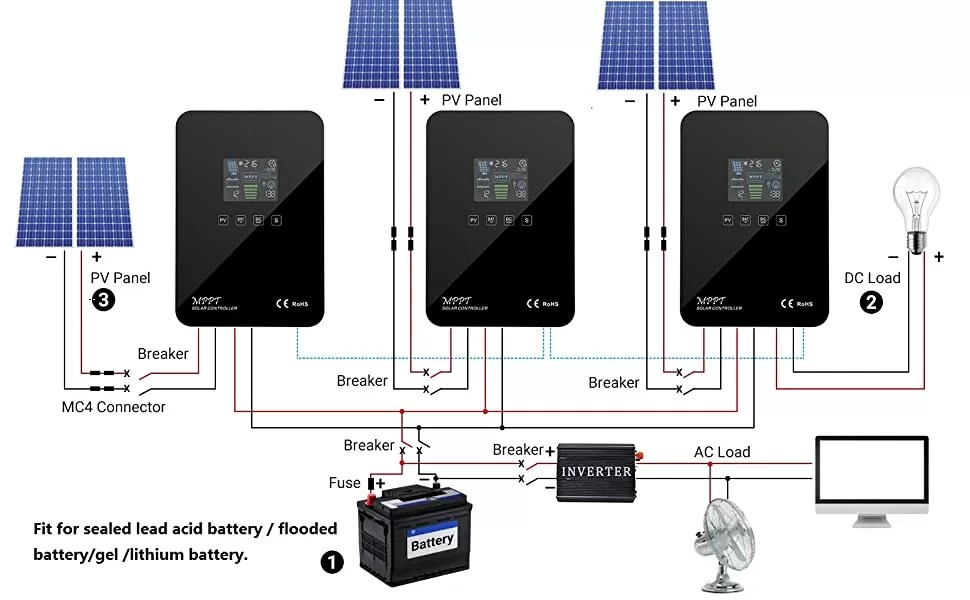 mppt solar charge controller parallel