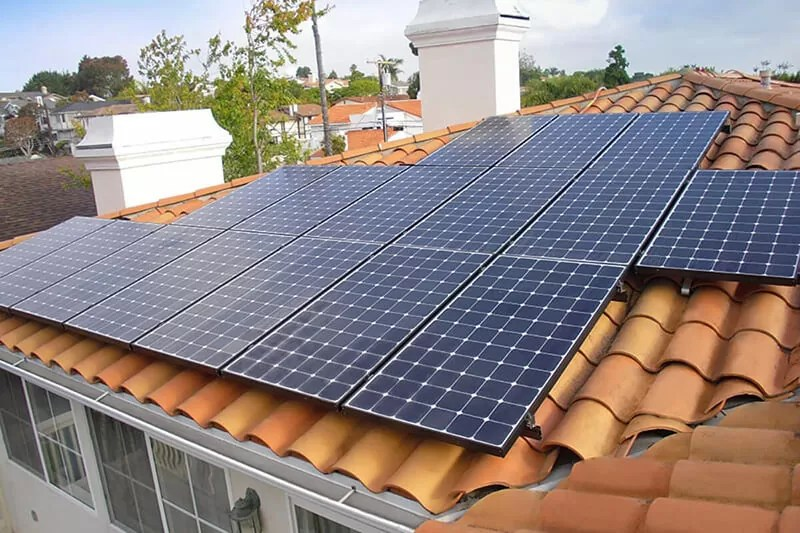 residential solar panels installation on clay tile
