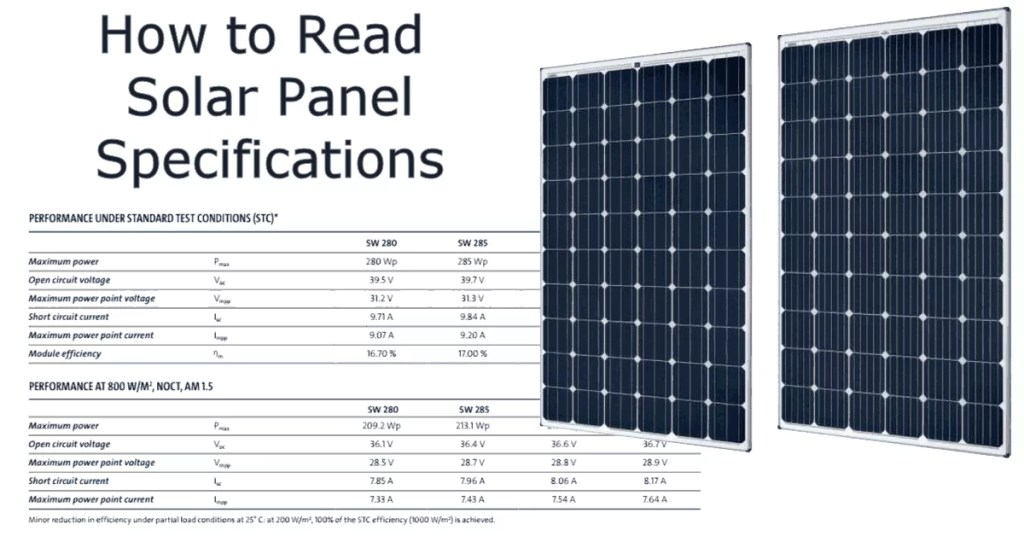 How to understand and compare solar panel specifications