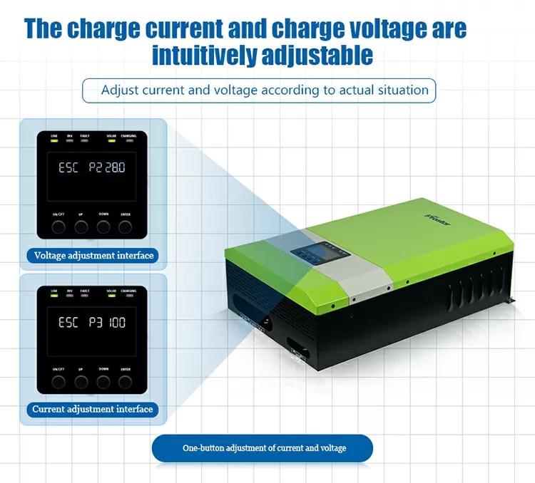 Off grid solar inverter charging current and voltage adjust
