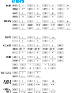 Oneal gear size chart also rh prostylemx