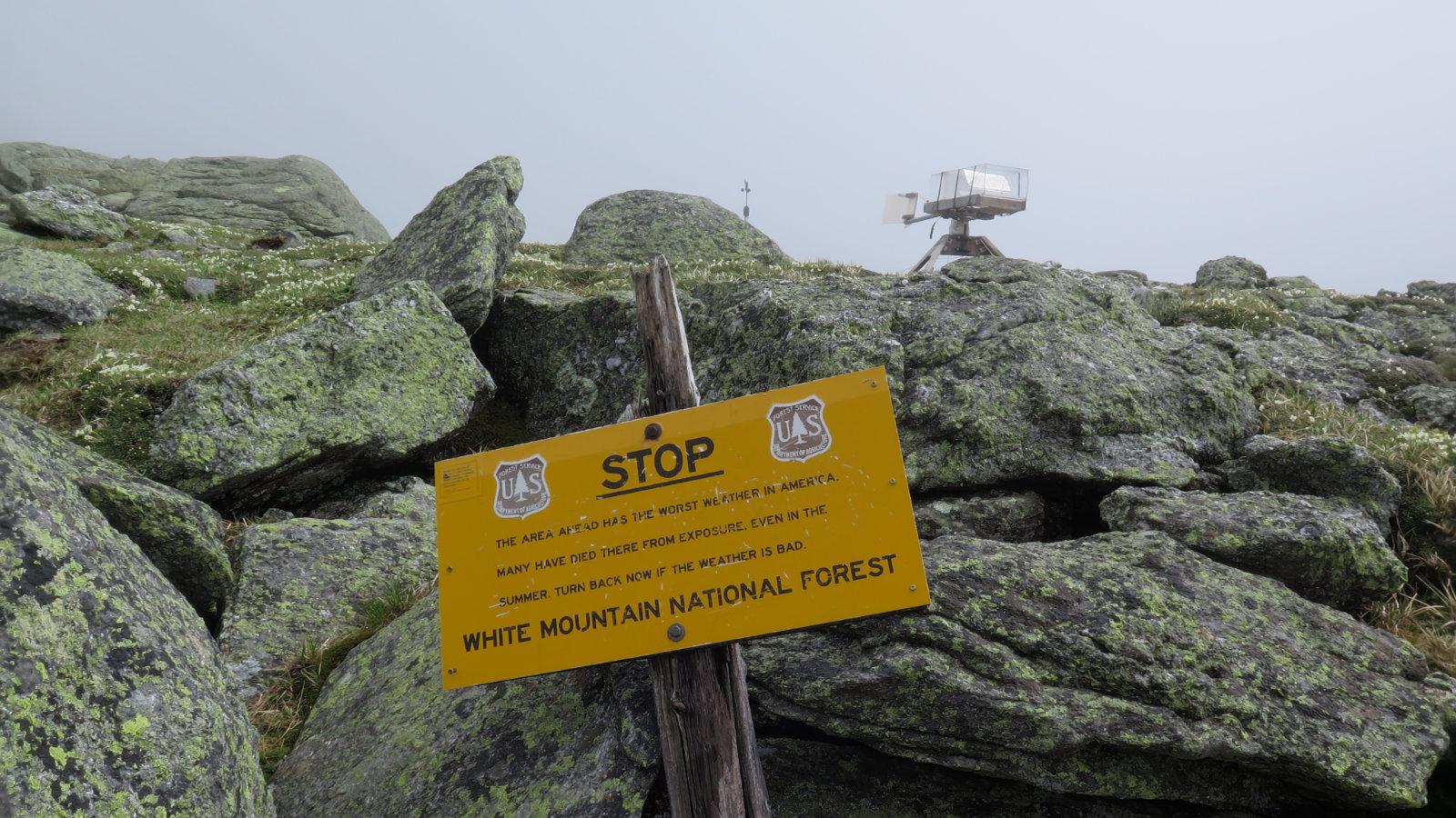 Warning sign near the summit of Mt Washington, New Hampshire
