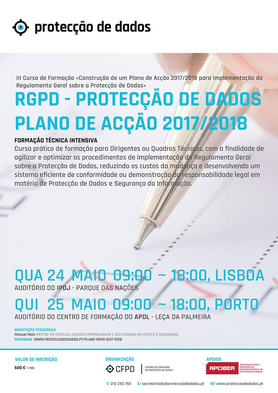 III Curso de Formação - «RGPD / Protecção de Dados - Plano de Acção 2017/2018 para Entidades Privadas»