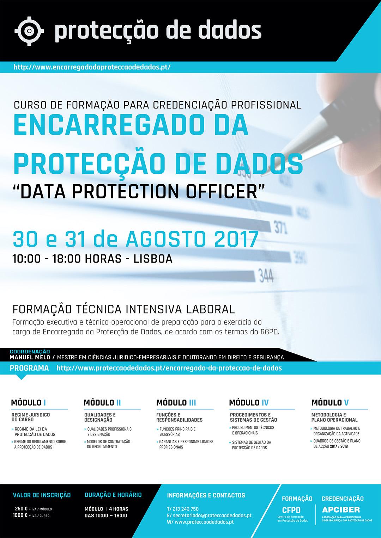 Curso - «Encarregado da Protecção de Dados» / «Data Protection Officer» - II Edição - Dias 30 e 31 de Agosto 2017