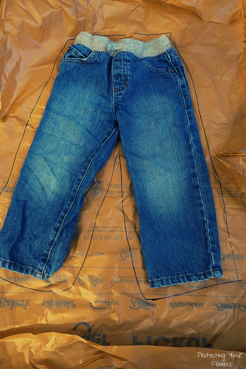 Trace jeans with Sharpie