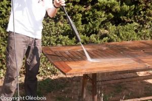 Nettoyage du bois au nettoyeur haute-pression