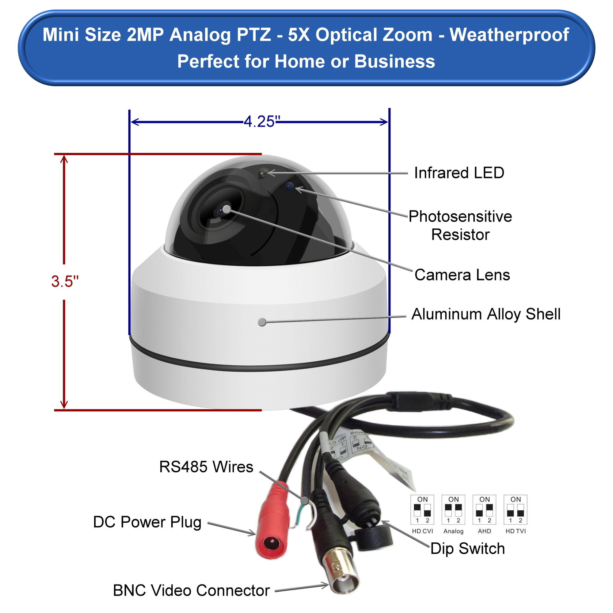 hight resolution of mini 5x optical 1080p infrared ptz camera