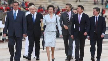 David Beckham and Princess Anne at Olympus
